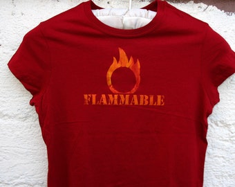 FLAMMABLE Flame Safety tshirt -  Womens fire tshirt safety 3rd shirt Burning Man handmade screenprint Red & Orange Poi Fire Spinner