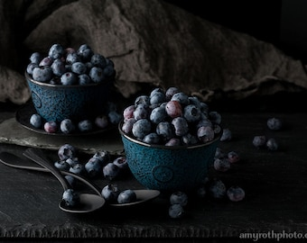 Still Life with Blueberries, Food Photography, Photo Print, Large Wall Art, Kitchen Decor, Dining Room Decor, Home Decor, Restaurant Decor