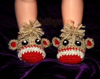Baby Sock Monkey Booties -  INSTANT DOWNLOAD Crochet Pattern