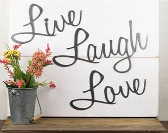 Live Laugh Love Wall Decor   Patio Decor   Lake House Decor   Metal Wall Art   Wall Hanging   Home Decor   Sign   Metal Art