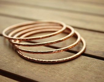Copper bangle set | copper bangles | hammered bangles | stacking bangles | 10.5 ga | 2,4 mm | bangle bracelets | women's bangles  - 2.2""