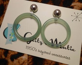 1950s style bad girl hoop earrings lucite mint glitzomatic glitz-o-matic