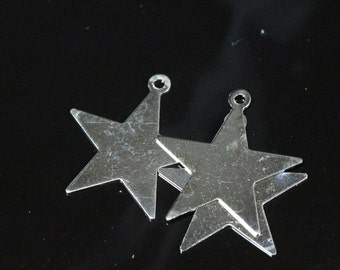 50 pcs nickel plated brass star 24x23 mm charms, findings 493N-44