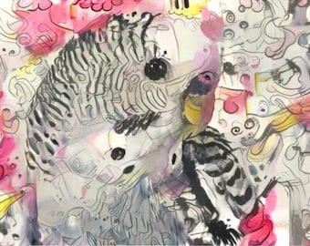 ATC ACEO Chirpy pink Budgie Art Card