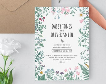 Garden Wedding Invitation Template, Woodland Wedding Invite, Wild Flower Invitation, Green Wedding Invitations, Boho Wedding Invitation