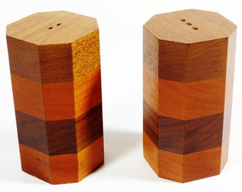 Midcentury Wood Band Salt and Pepper Shakers Set