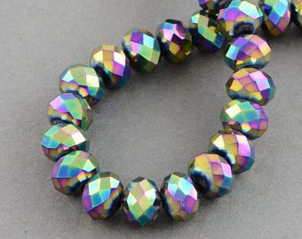 150 pcs Rondelle  FACETED GLASS CRYSTAL Beads 4mm x 3mm Jewellery Making Metallic Rainbow