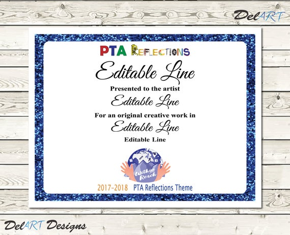 Pta reflections certificate 2017 2018 digital printable pdf pta reflections certificate 2017 2018 digital printable pdf files or editable pdfs certificate template within reach theme 85x11 inch yadclub Images