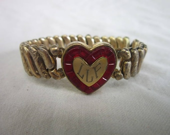 Antique Victorian Bracelet Gold Filled Engraved Heart with Red Stones