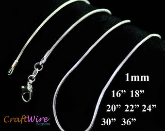 """925 Sterling Silver Plated Necklace Snake Chain 1.0mm 16"""" 18"""" 20"""" 22"""" 24"""" 30"""" 36"""""""