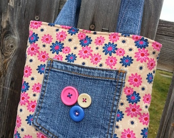 Girls tote, Toddler Tote, Corduroy Tote, Floral Tote, Denim Tote, Small Tote, Tote with Pockets, Girl's Corduroy Purse, Purse with Buttons
