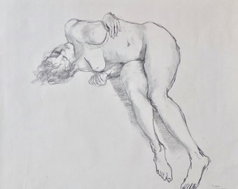Original Life Drawing 1, Charcoal, Nude Sketch, Dessin, Woman, Art, Simple, Croquis, Hand, Kunst, Modern, large, Pencil, Reclining, Body