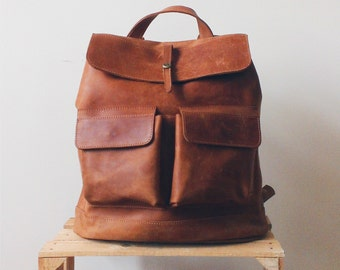 HandMade LEATHER BACKPACK  / Citi Backpack / Handcrafted leather Rucksack with two front pockets / Cognac brown leather bag