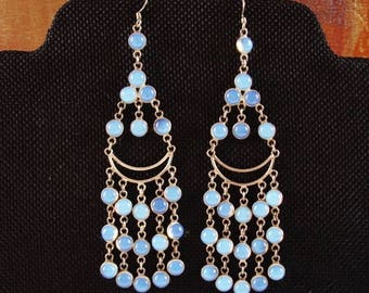 Vintage Sterling Silver Rainbow Moonstone Chandelier Earrings FREE SHIP