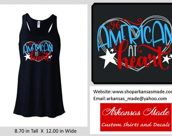 American at Heart Bella flowy racerback tank top, Independence Day tank top, summer tank, American tank, America tank, up to 2x