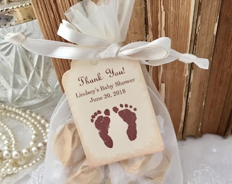 Baby Shower Favor Set Bags, Personalized Tags Neutral Footprints Set of 10