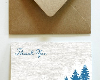 Blue Pines and Woodgrain Thank You Notes (150)