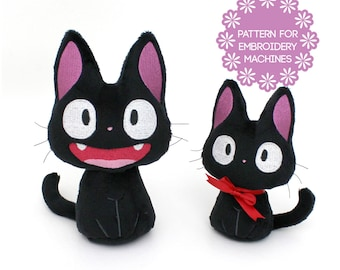 "ITH In The Hoop plush embroidery machine design - plushie cat pattern Halloween Black Cat Jiji 2 faces 2 sizes 5.25"" 7"" - some sewing kawaii"