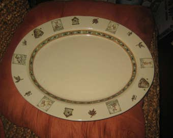 Disney Winnie the Pooh 100 Acre Woods Large Oval Ceramic Serving Platter