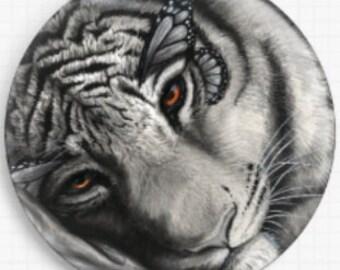 Tiger Needle Minder, Licensed Art, Danielle Trudeau, Cross Stitch Keeper, Needle Nanny, Pin Keeper, Pattern Holder, 'Lap of Luxury'
