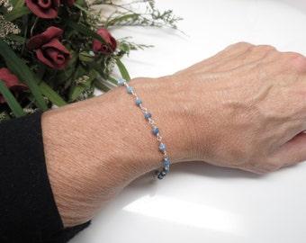 Peruvian Blue Opal Bracelet, October Birthstone, Blue Gemstone Bracelet Sterling Silver, 6.5-8 Inches Length, Wire Wrapped Bracelet