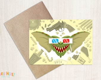 Gremlins 1980s Horror Movie Illustrated Birthday Card 4 by 6 Inch