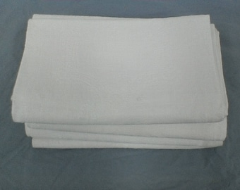 Vintage woven linen white table napkins.