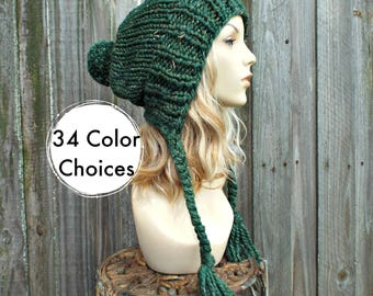 Kale Green Chunky Knit Hat Women - Green Hat Green Beanie Green Slouchy Beanie - Charlotte Ear Flap Hat Pom Pom Hat - 34 Color Choices