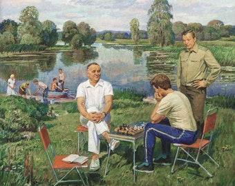 "Original picture of the USSR ""After the Flight"" 1983 artist Shepetovskiy Vitaly Yakovlevich (1927-1988)"