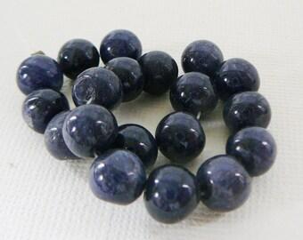 Vintage .. Bead, Blue AGate Gemstone, 8mm Round 6 inch strand