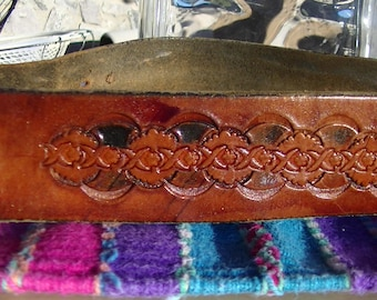 Vintage Hand Tooled Leather Belt with no buckle   37 inches long