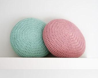 SET of 2. Crochet pillow. Round pillow. Crochet cushion. Coussin crochet. Cojin ganchillo. Crochet home decor. Nursery decor.