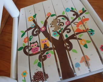 Child Rocking Chair- Kid Rocking Chair- Small Rocker-Owl- Personalized Hand Painted Rocking Chair