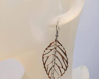 Fine leaf and chain earrings