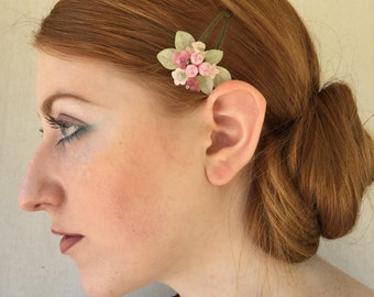 SWEETHEART SNAP CLIPS in Pnk Pastel, Vintage Inspired Hand beaded Flower Clip by Colleen Toland