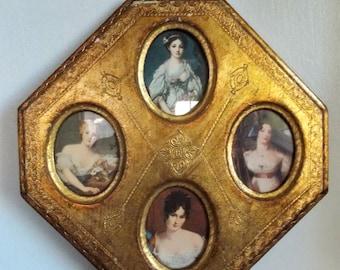 Vintage Italian Florentine Gilt Wood Wall Frame Plaque with Victorian Ladies Portraits