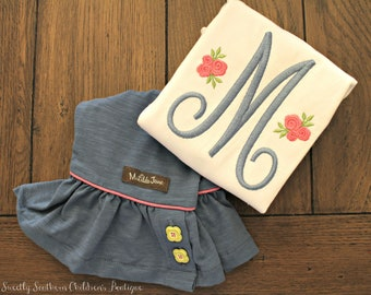 girl embroidered shirt with initial and flowers- shirt to match matilda jane ruffle pants- custom embroidered shirt for girl