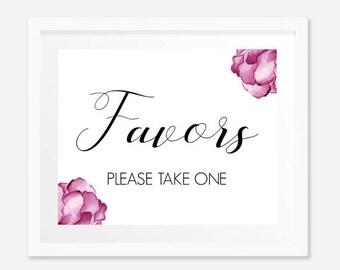 PRINTABLE favors sign, Wedding favors sign, Bachelorette party favors sign, Hen party favors sign, Bridal shower favors sign