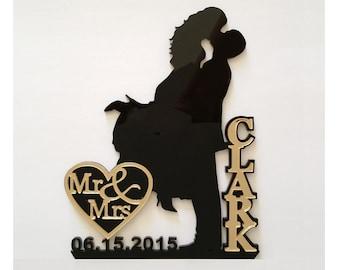Bling Glamour Wedding Cake Topper Silhouette  in Mirror, Glam, Bling - FREE Keepsake Display Base - Acrylic Cake Topper [CT18wg]