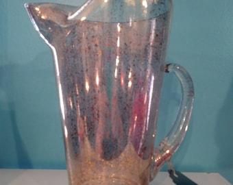 Gold Speckled Glitter Midcentury Atomic Glass Pitcher Barware Iced Tea Lemonade
