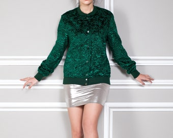 Bomber astrakhan emerald. Exclusive faux fur by Tissavel (France)