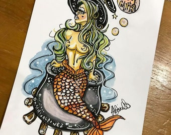Witch Mermaid A5 watercolour illustration Mythicalponez burlesque pin up retro fairytale fantasy sealife ink girl beauty surreal bizarre