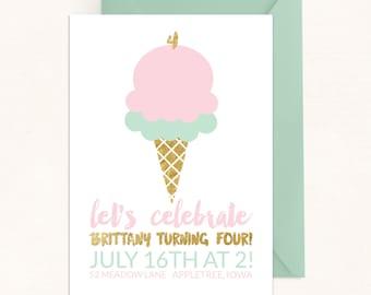 Ice Cream Birthday Invitation / Ice Cream Invitation / Summer Birthday / Pastel Invitation / Digital / Summer Invitation / Ice Cream Party
