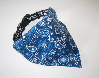 Blue Dog Bandana, No-Tie, Slip Over Collar, Blue Classic Bandana Print