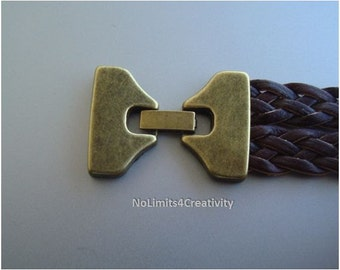 2/5 pcs, clasps bronze color  for 25mm flat leather, clasps jewelry, cork supplies (MC11)