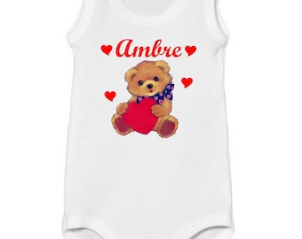 Onesie top Teddy bear heart personalized with name