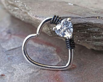16 Gauge Silver Heart Daith Rook Heart Hoop Ring Daith Septum Hoop