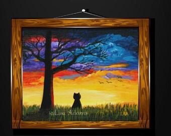Oak Tree Cat Sunset Canvas Art print of Original Painting Creationarts