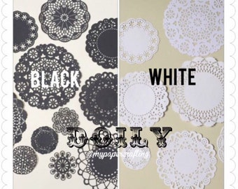 Black assorted Doily paper for Scrapbooks, card making, wedding decoration / pack
