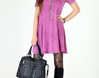 Acid Mineral Washed Fit & Flair Short Sleeve Cotton Swing Dress